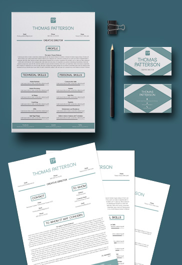 Job Resume Template – 2 pages + Business Card