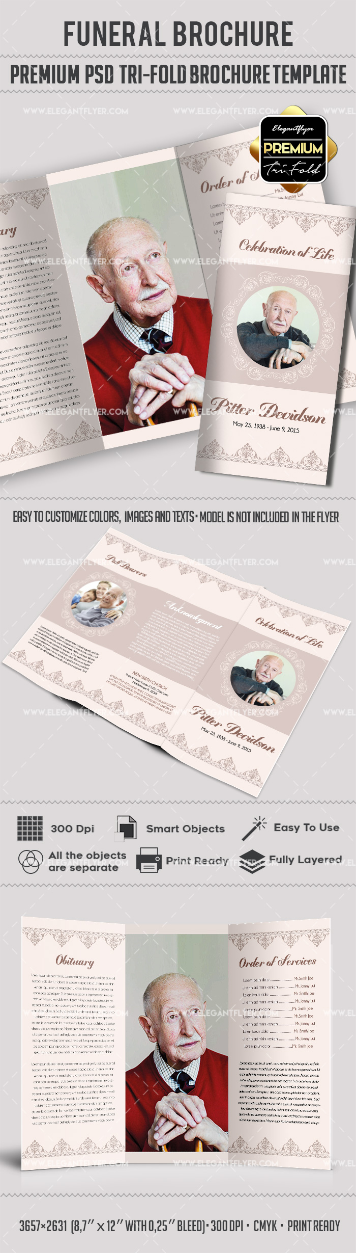 Tri fold funeral service brochure template by elegantflyer for Funeral brochure template