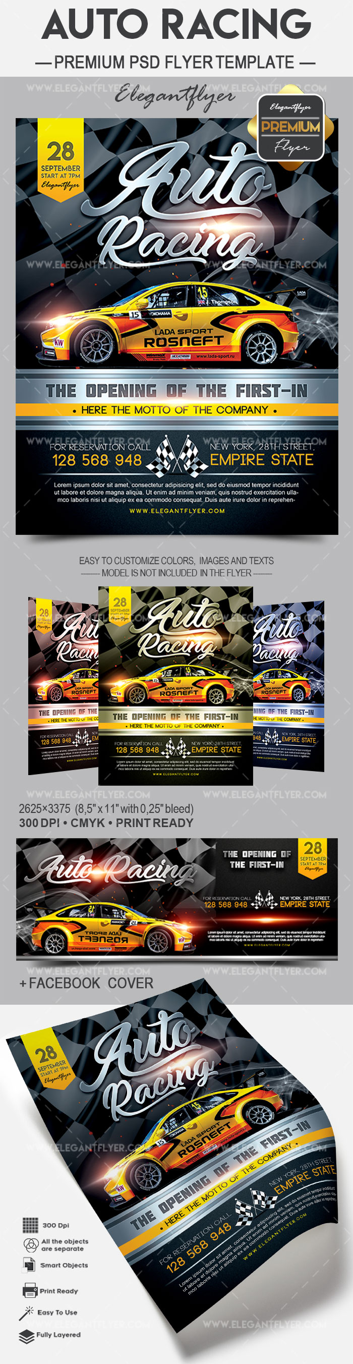 Auto Racing – Flyer PSD Template