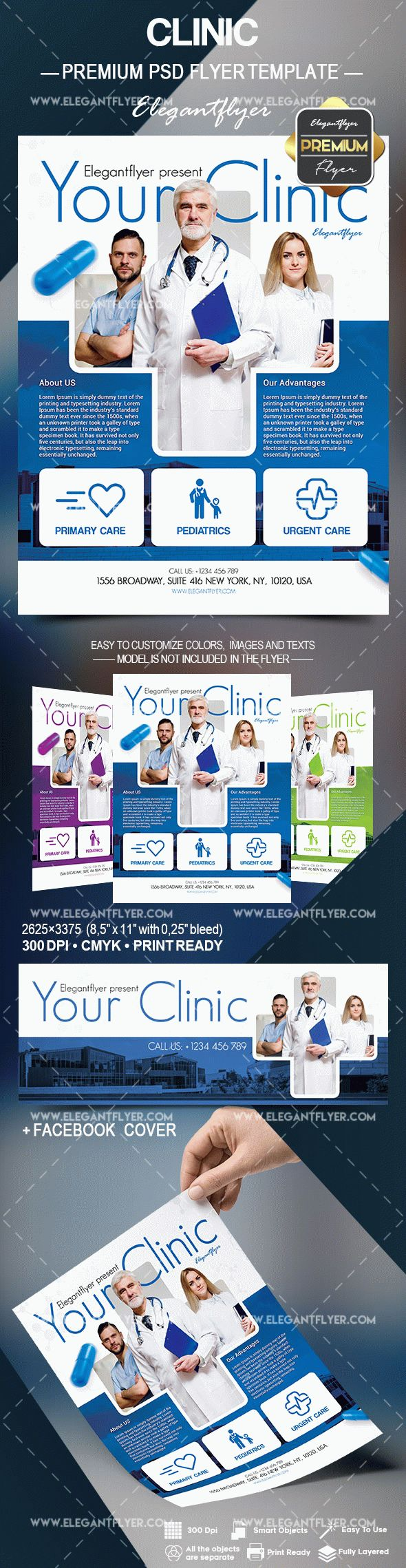 Clinic – Flyer PSD Template + Facebook Cover