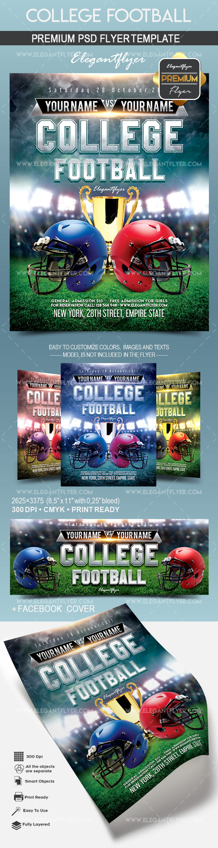 College Football Flyer PSD Template