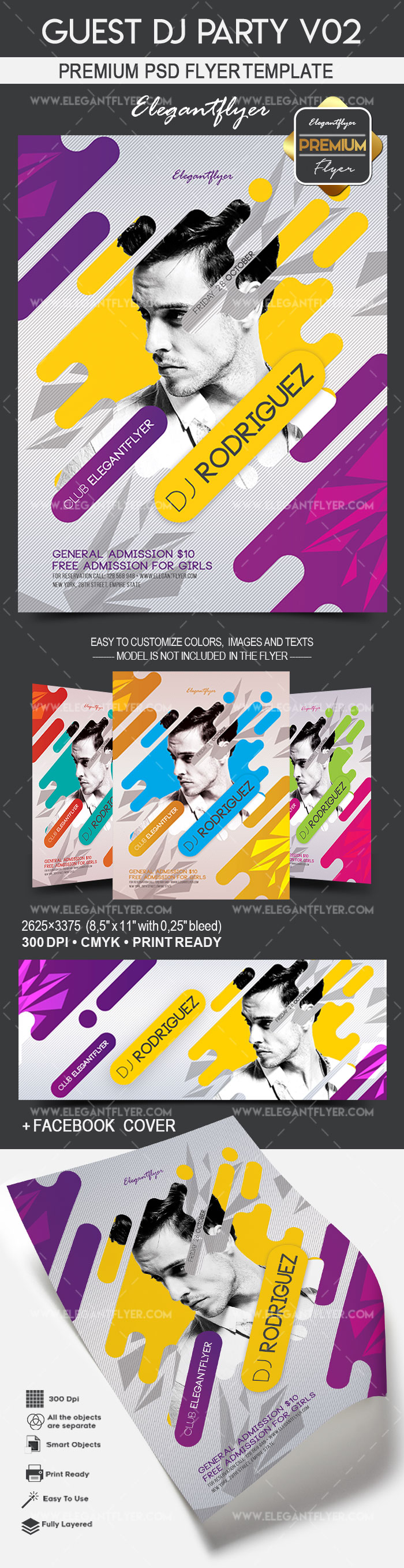 Guest DJ Party V02 – Flyer PSD Template + Facebook Cover