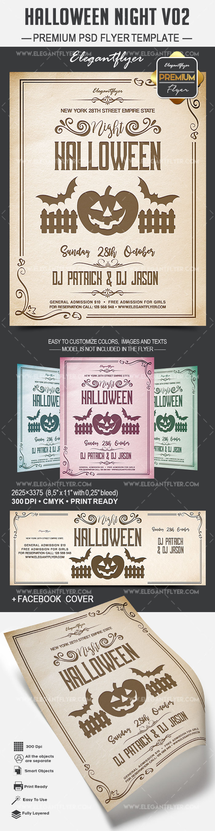 Halloween Night V02 – Flyer PSD Template + Facebook Cover