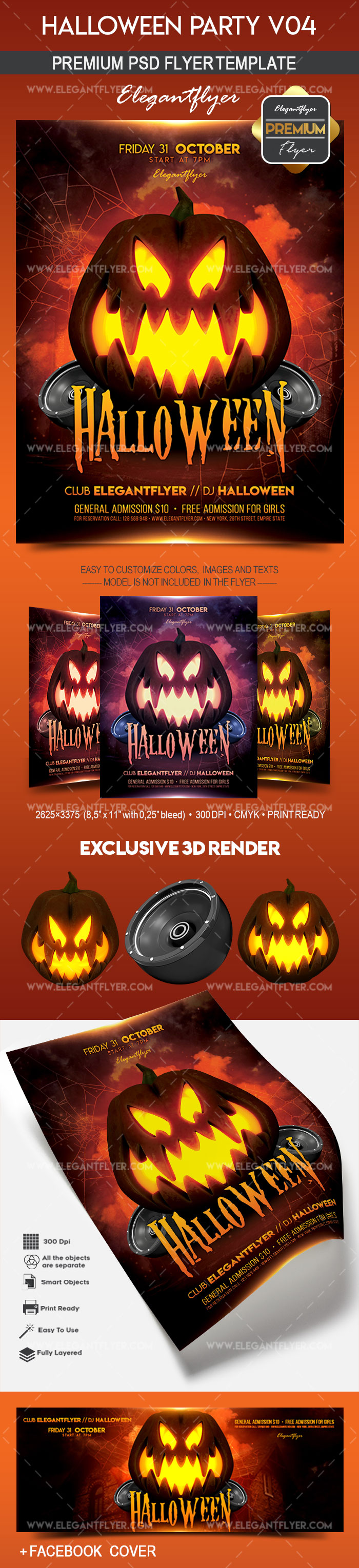 Halloween Party V04 – Flyer PSD Template + Facebook Cover