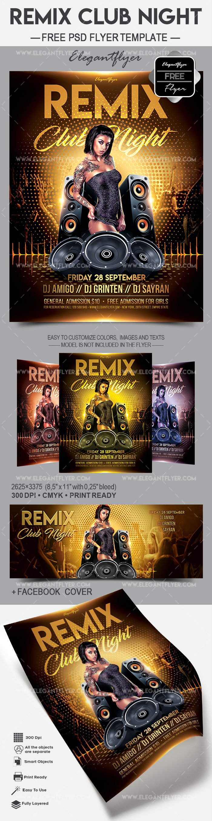 Remix Club Night – Free Flyer PSD Template
