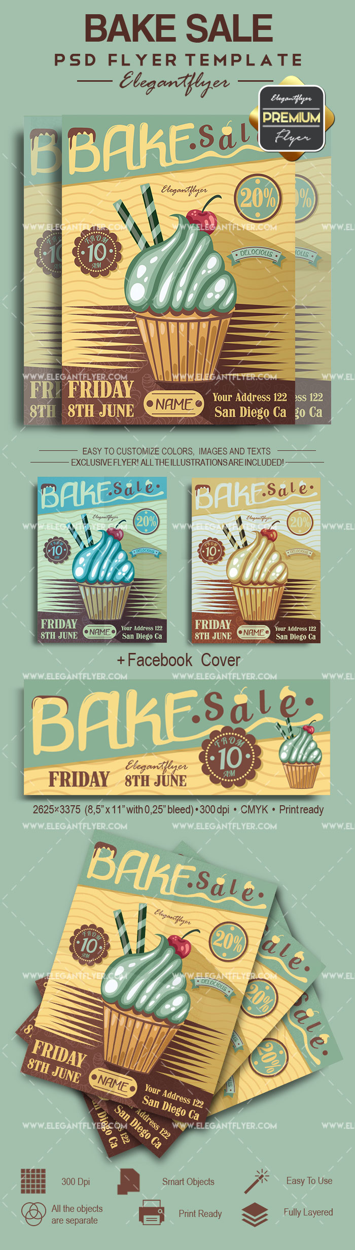 Bake Sale – Flyer PSD Template + Facebook Cover