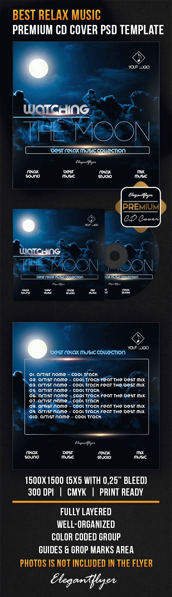 Best Relax Music – Premium CD Cover PSD Template
