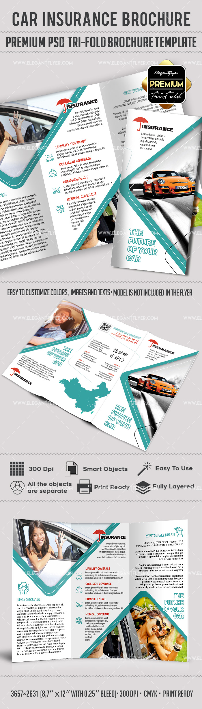 Car Insurance Brochure in PSD