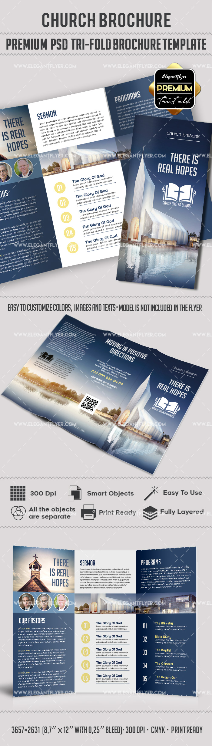 Church Premium TriFold PSD Brochure Template By ElegantFlyer - Church brochure templates