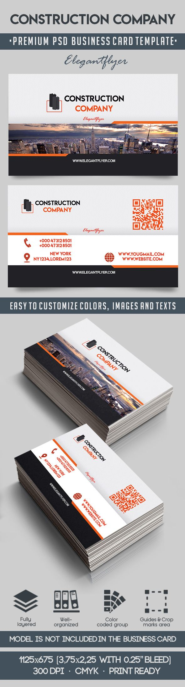 Construction company psd business card by elegantflyer construction company psd business card reheart Image collections