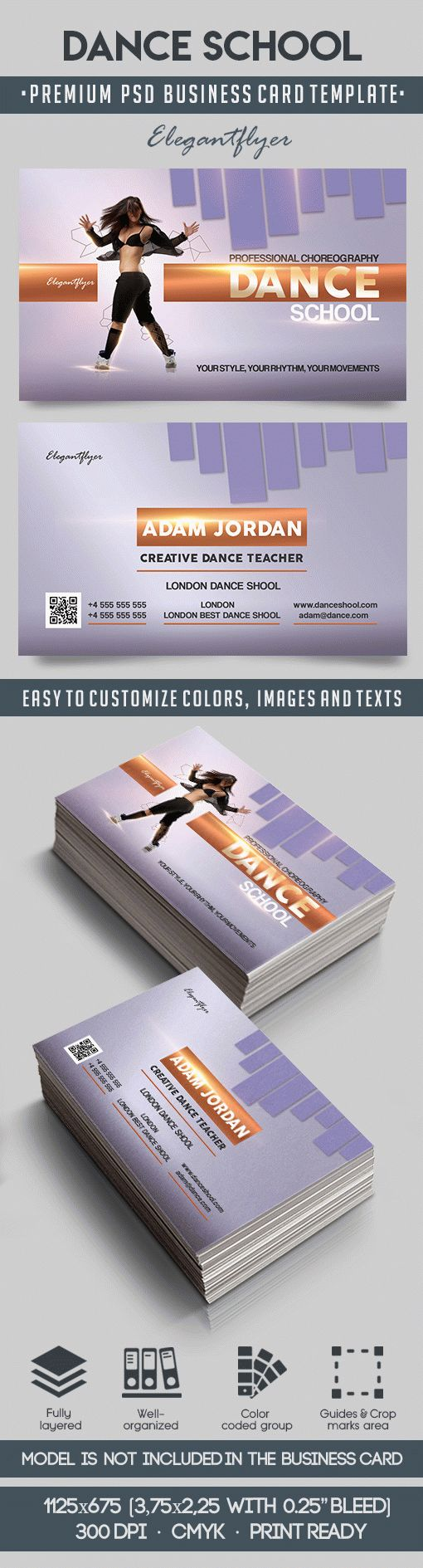 Dance school – Premium Business Card Templates PSD