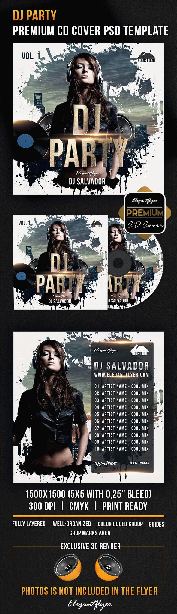 DJ Party – Premium CD Cover PSD Template