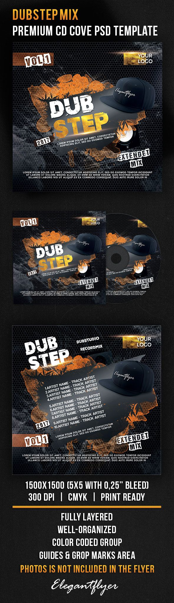 Dubstep Mix – Premium CD Cover PSD Template