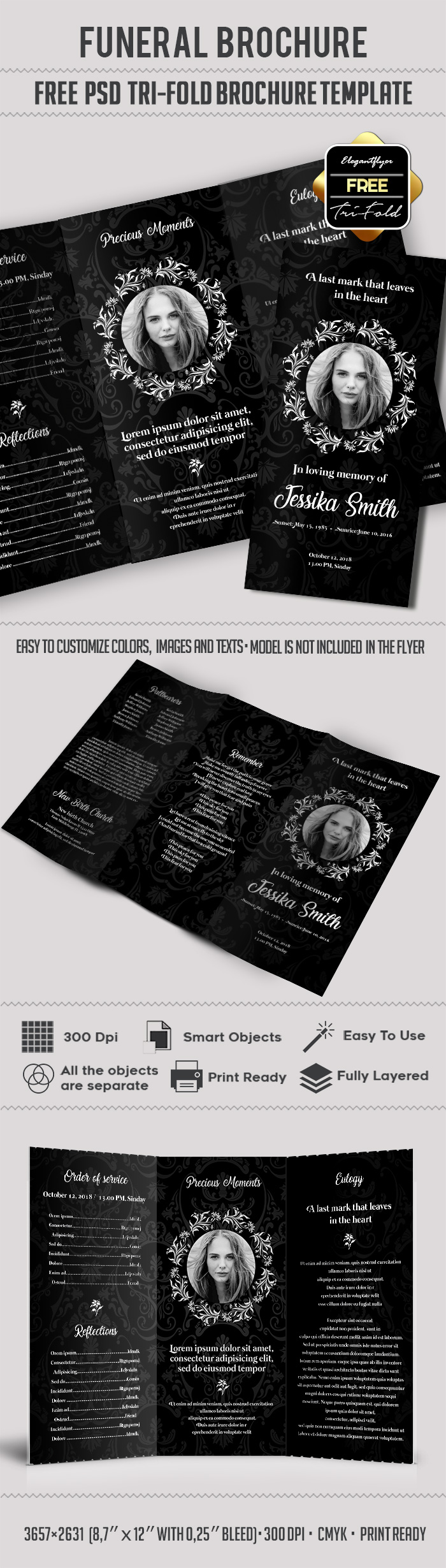 Free funeral trifold brochure by elegantflyer for Funeral brochure templates free