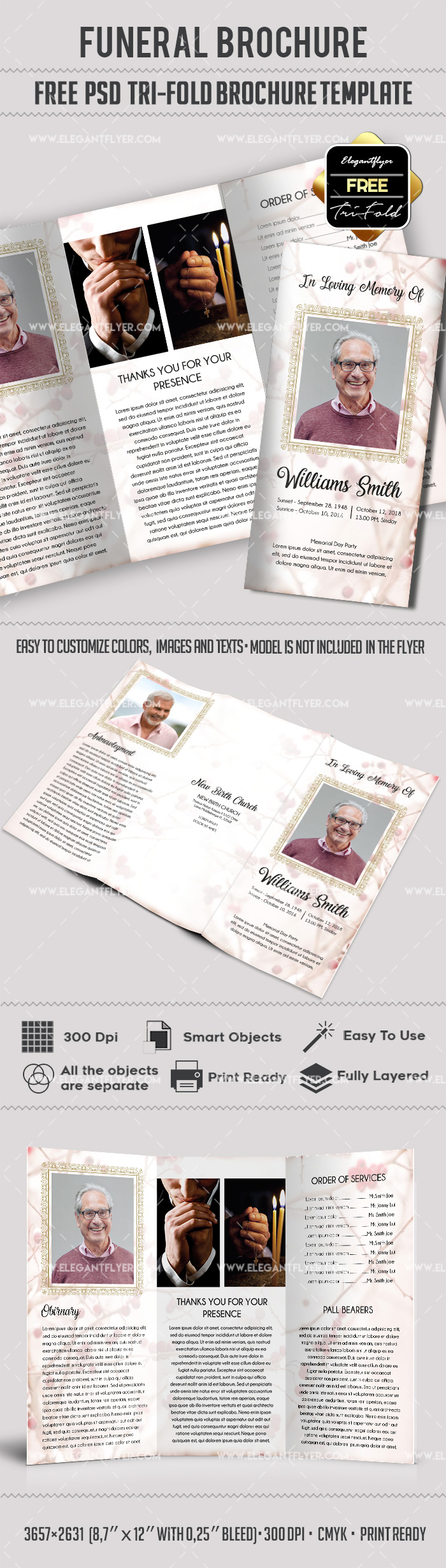 Free Trifold Brochure for Funeral in PSD