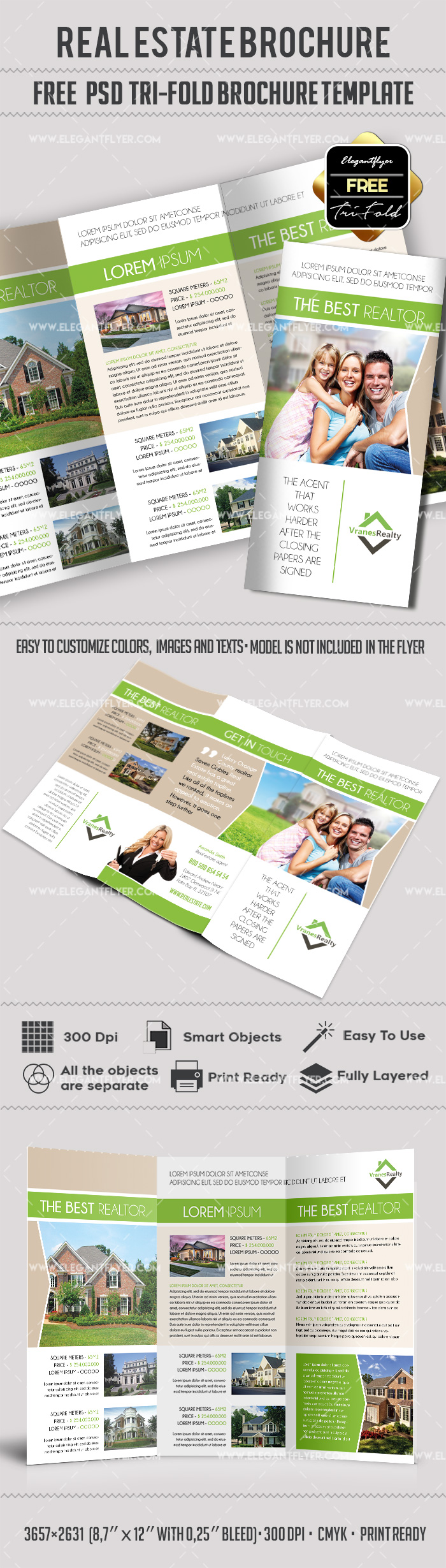 free psd brochure template - free real estate trifold brochure template in psd by