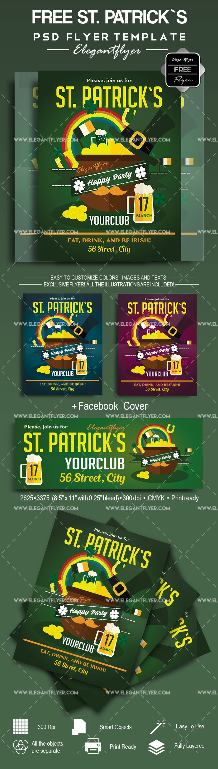 st  patrick s day  u2013 free flyer psd template  u2013 by elegantflyer
