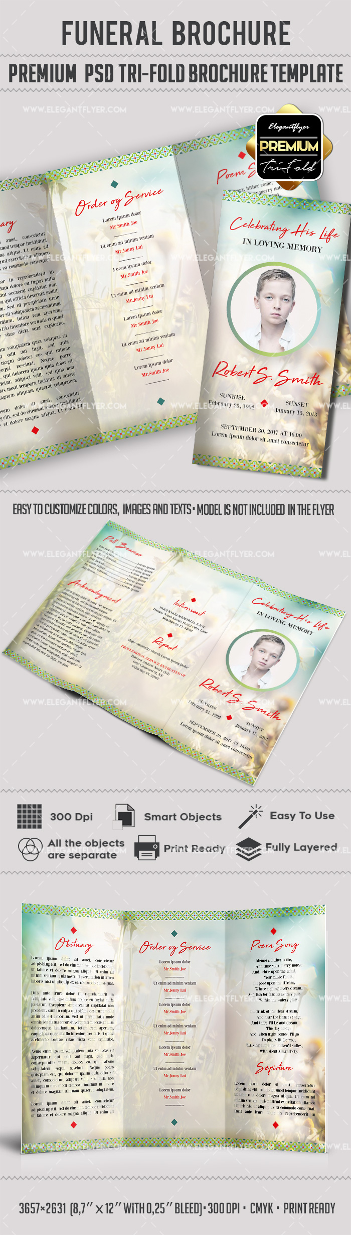 Funeral brochure template by elegantflyer for Tri fold brochure template psd