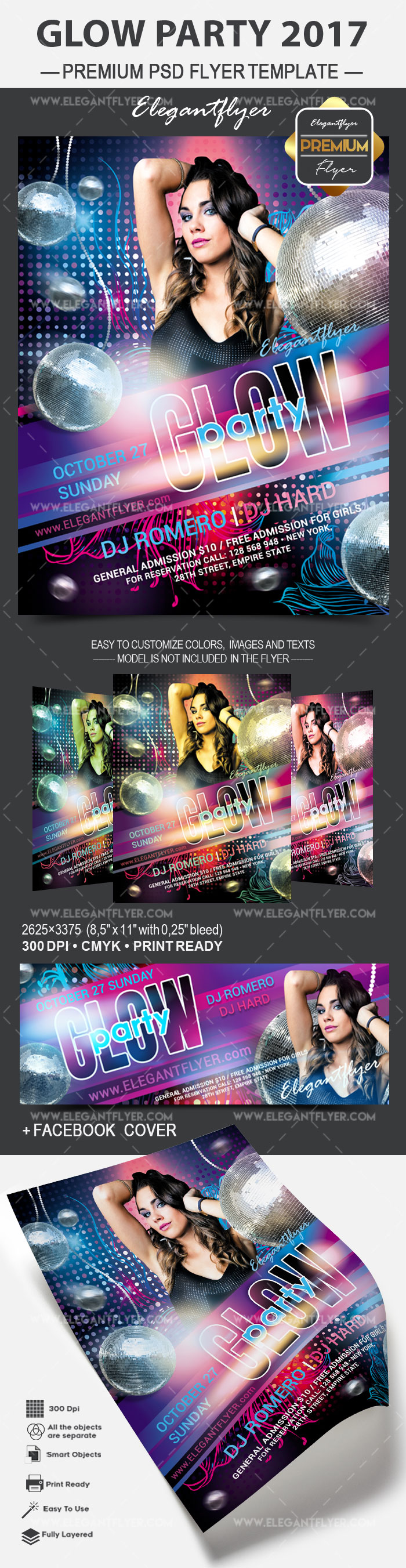 Glow party 2017 – Flyer PSD Template