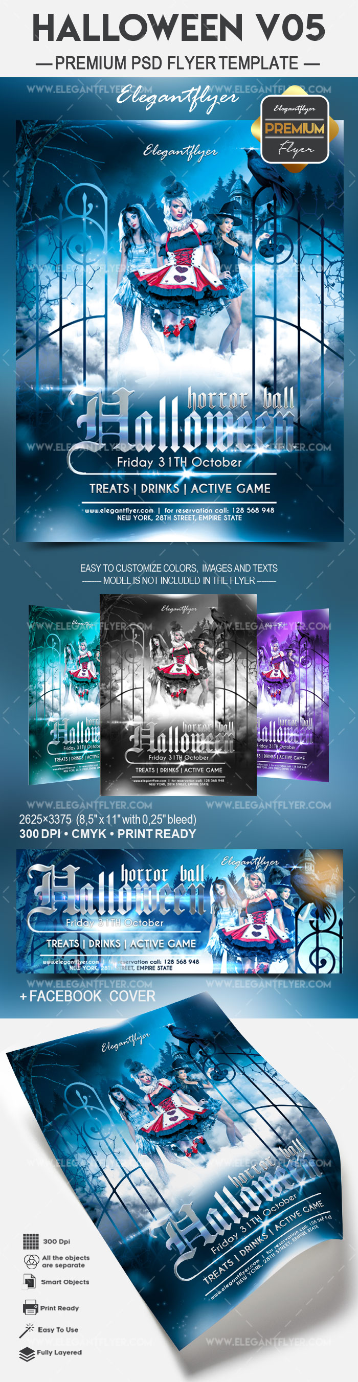 Halloween ball 2017 – Flyer PSD Template + Facebook Cover