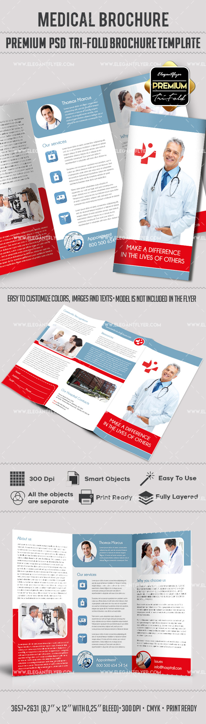 Template for live well medical center by elegantflyer for Tri fold brochure template psd