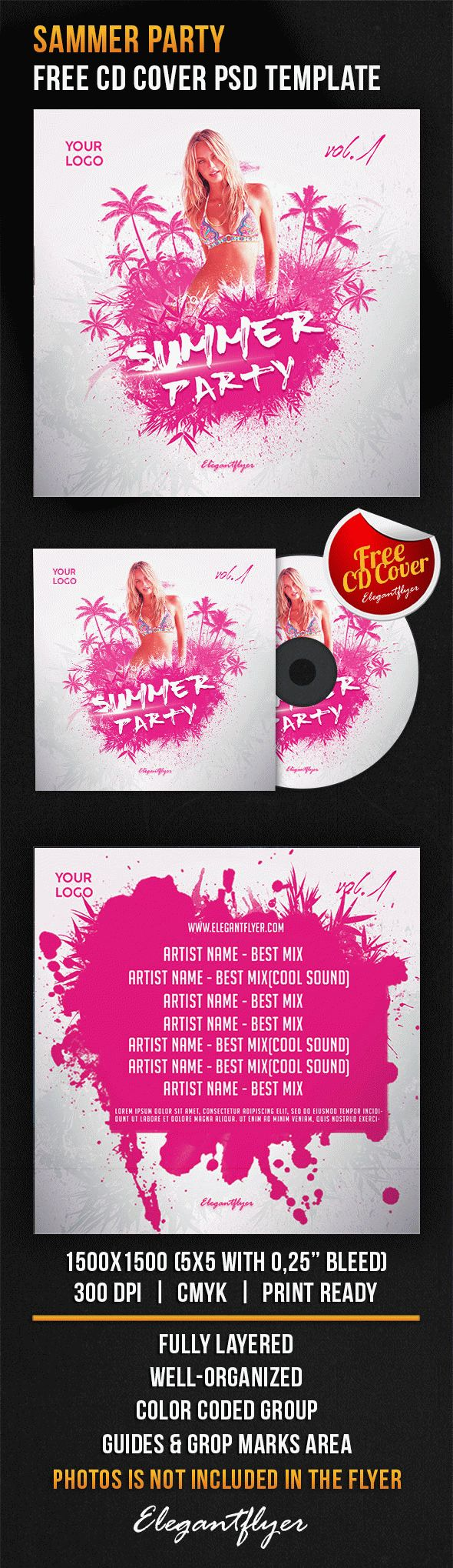 Summer Party – Free CD Cover PSD Template