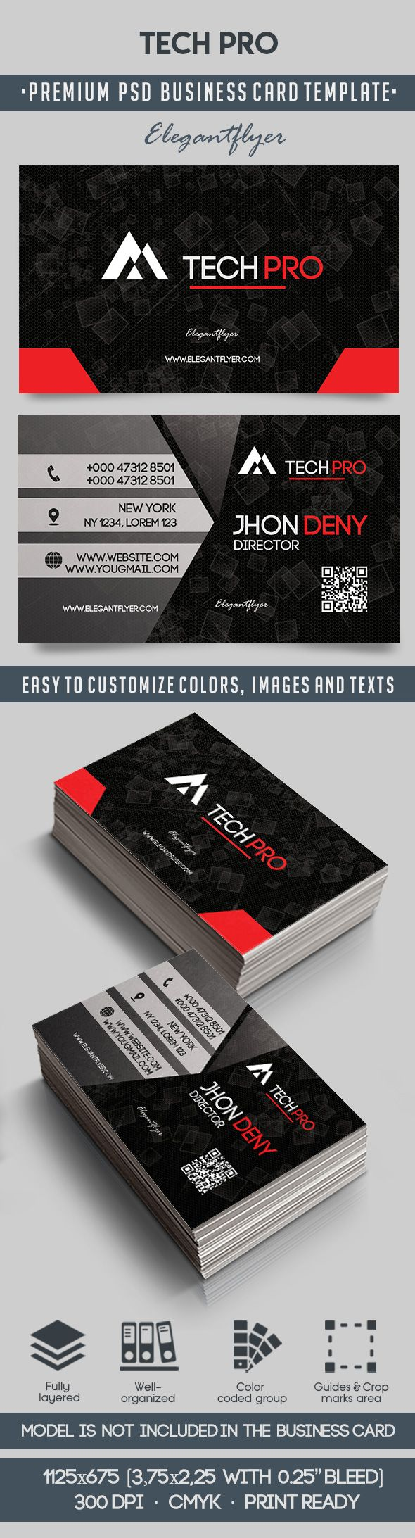 Tech pro premium business card templates psd by elegantflyer tech pro premium business card templates psd flashek Images