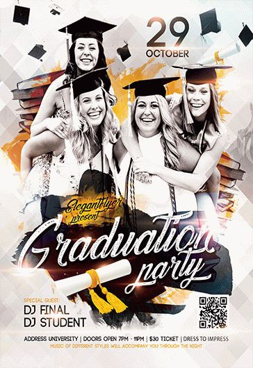 graduation party v02  u2013 flyer psd template  u2013 by elegantflyer