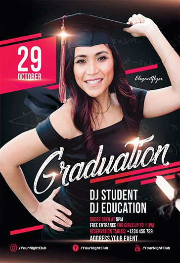 Free Graduation Party Flyer Templates For Photoshop  By Elegantflyer