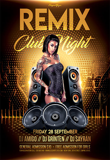 remix club night free flyer psd template by elegantflyer