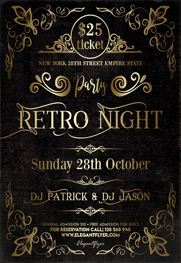 Retro Night Party V02 – Flyer PSD Template
