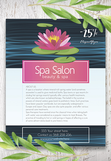 Beauty Spa  Free Flyer Psd Template  By Elegantflyer