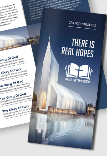 church premium tri fold psd brochure template