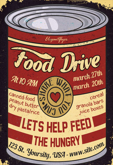 Elegant Flyer  Can Food Drive Flyer Template