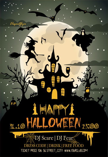 Free halloween flyer templates for photoshop by elegantflyer happy halloween free flyer psd template saigontimesfo