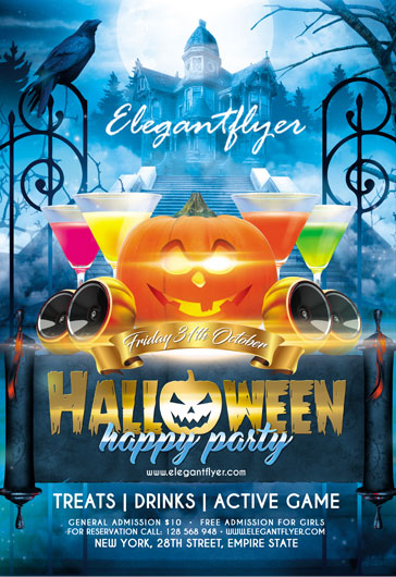 Halloween happy party – Flyer PSD Template