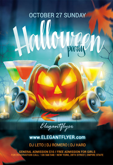 Cocktails for Halloween Party PSD Template