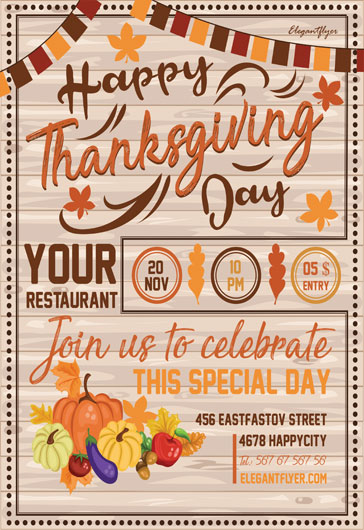 Flyer for Happy Thanksgiving Day