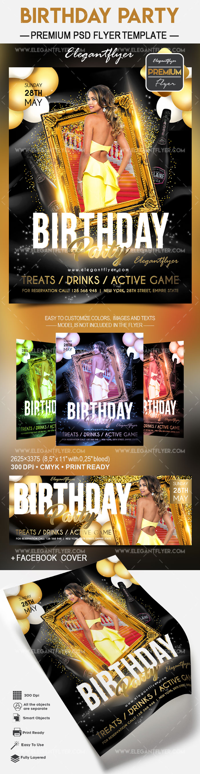 Birthday Party 2017 – Flyer PSD Template + Facebook Cover