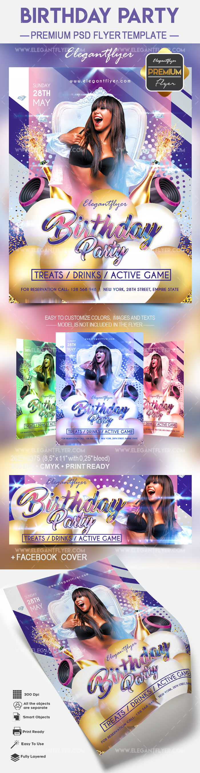 birthday party flyer template by elegantflyer