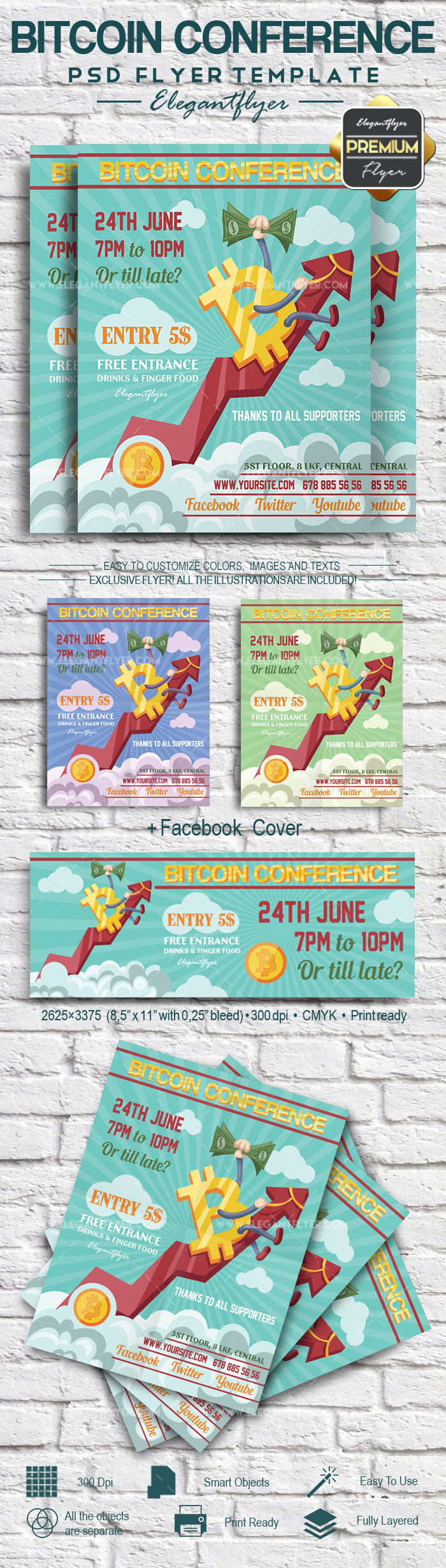 Bitcoin Conference – Flyer PSD Template + Facebook Cover