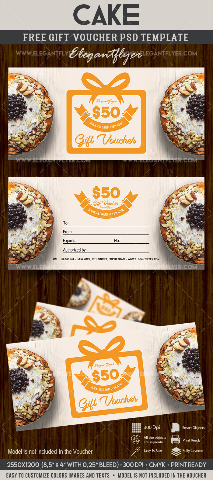Cake – FREE Gift Certificate PSD Template