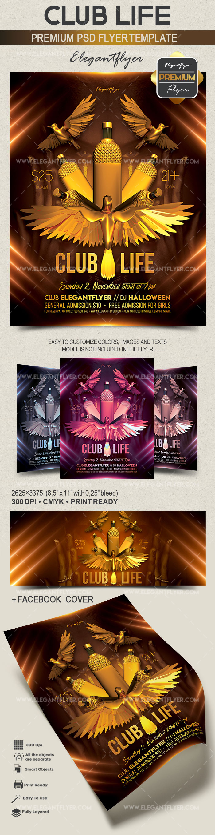 Club Life – Flyer PSD Template + Facebook Cover