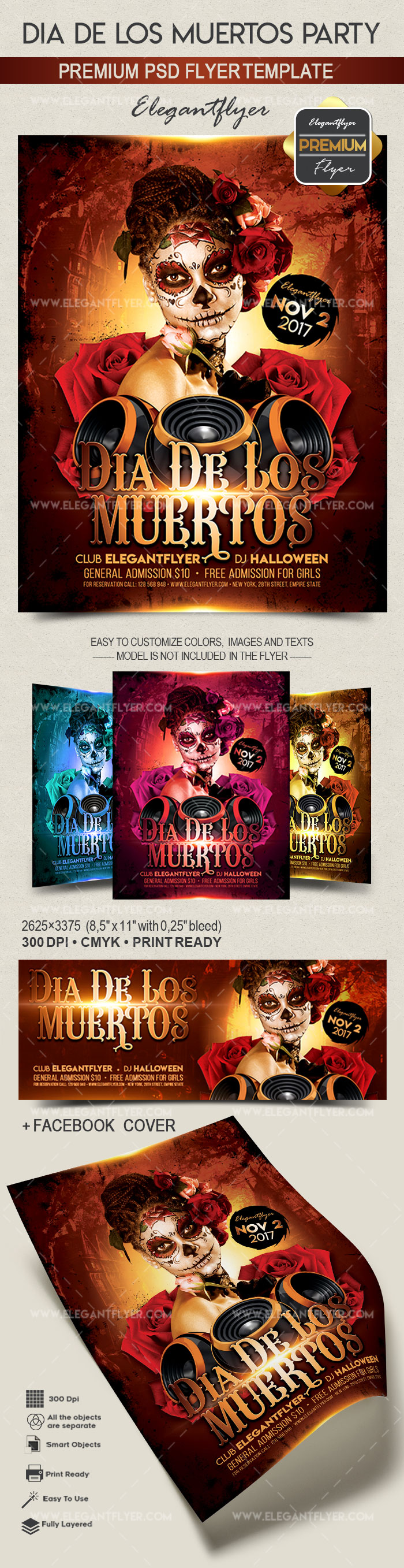 Party Flyer For Dia De Los Muertos