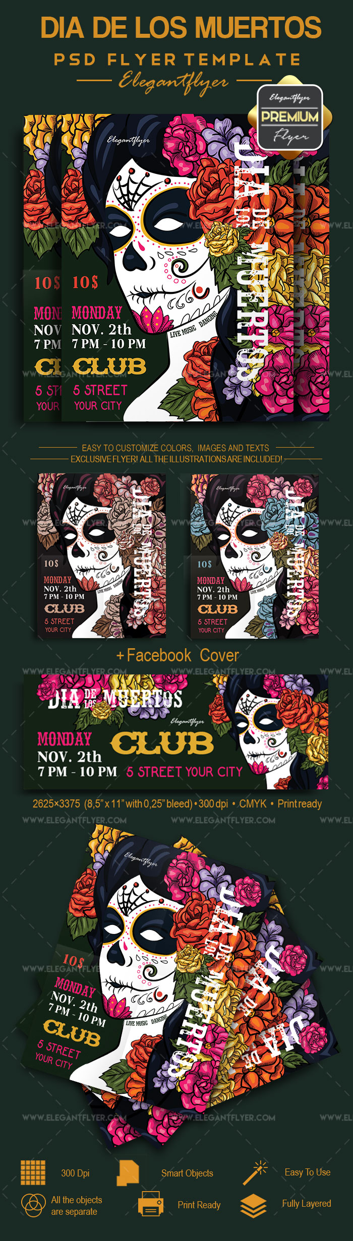 Flyer Template for Dia de Los Muertos Face Paint – by ElegantFlyer
