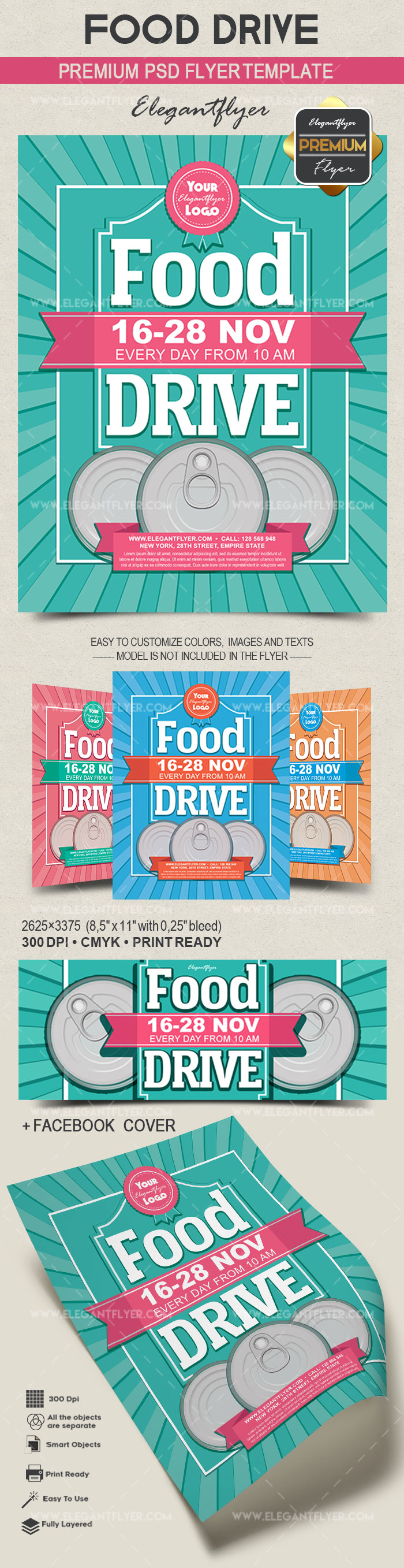 food drive flyer psd template by elegantflyer. Black Bedroom Furniture Sets. Home Design Ideas