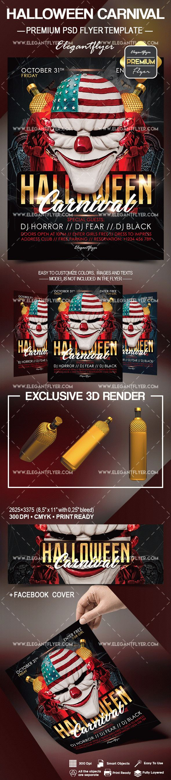 Halloween Carnival – Flyer PSD Template + Facebook Cover