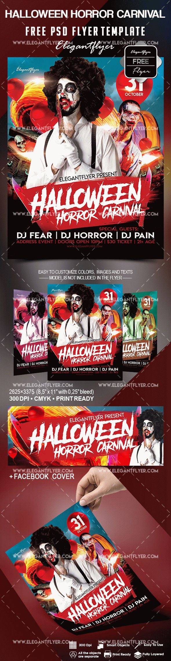 free halloween horror carnival flyer template by elegantflyer