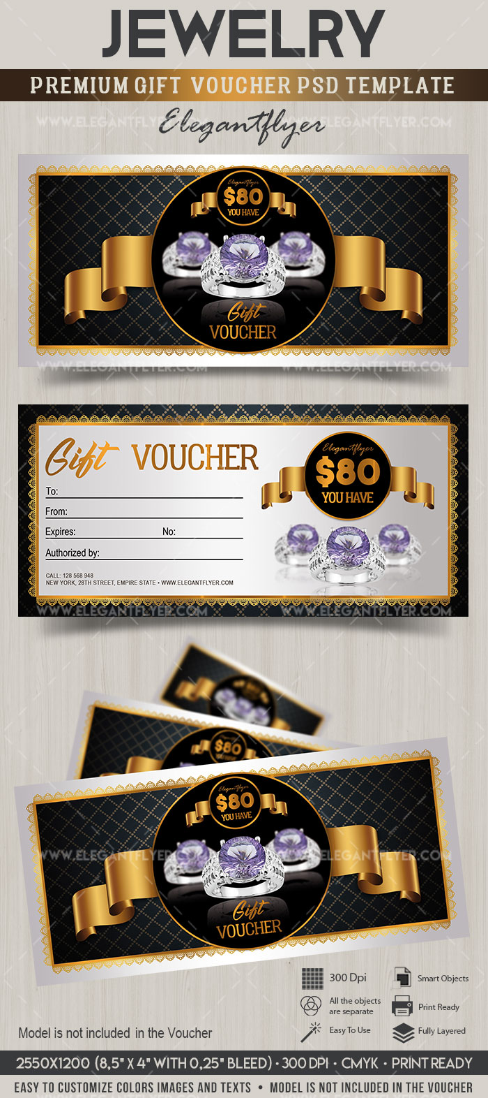 Jewelry premium gift certificate psd template by elegantflyer jewelry premium gift certificate psd template yelopaper Images