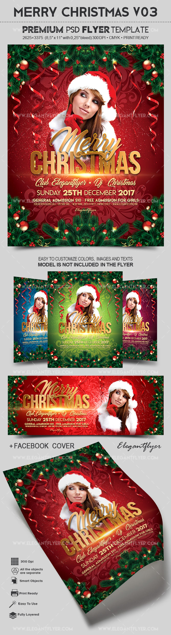 Merry Christmas V03 – Flyer PSD Template + Facebook Cover